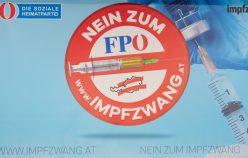VIENNA, AUSTRIA - JANUARY 17: NO TO COMPULSORY VACCINATION banner at the FPOE Media Center on January 17, 2021 in Vienna, Austria WIEN, OESTERREICH - 17. JAENNER: Banner NEIN ZUM IMPPZWANG im FPOE Medienzentrum am 17. Jaenner 2021 in Wien, Oesterreich