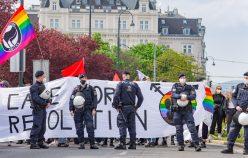 VIENNA, AUSTRIA - MAY 01: Participants of the Mayday-Demo on Mai 01, 2021 in Vienna, Austria. WIEN, OESTERREICH - 01. MAI: Teilnehmer der Demonstration Mayday-Demo am 01. Mai 2021 in Wien, Oesterreich.