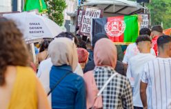 VIENNA, AUSTRIA - SEPTEMBER 03: Activists protesting for solidarity with Afghanistan during the demonstration initiated by of the Platform for a Humane Asylum Policy -Saving human lives -putting human dignity first at Christian-Broda-Platz on September 03, 2021 in Vienna, Austria.
