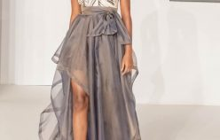 VIENNA, AUSTRIA - SEPTEMBER 13: Model walks down the runway during the opening show of the MQVFW.21, MQ Vienna Week 2021 at the MuseumsQuartier on September 13, 2021 in Vienna, Austria.